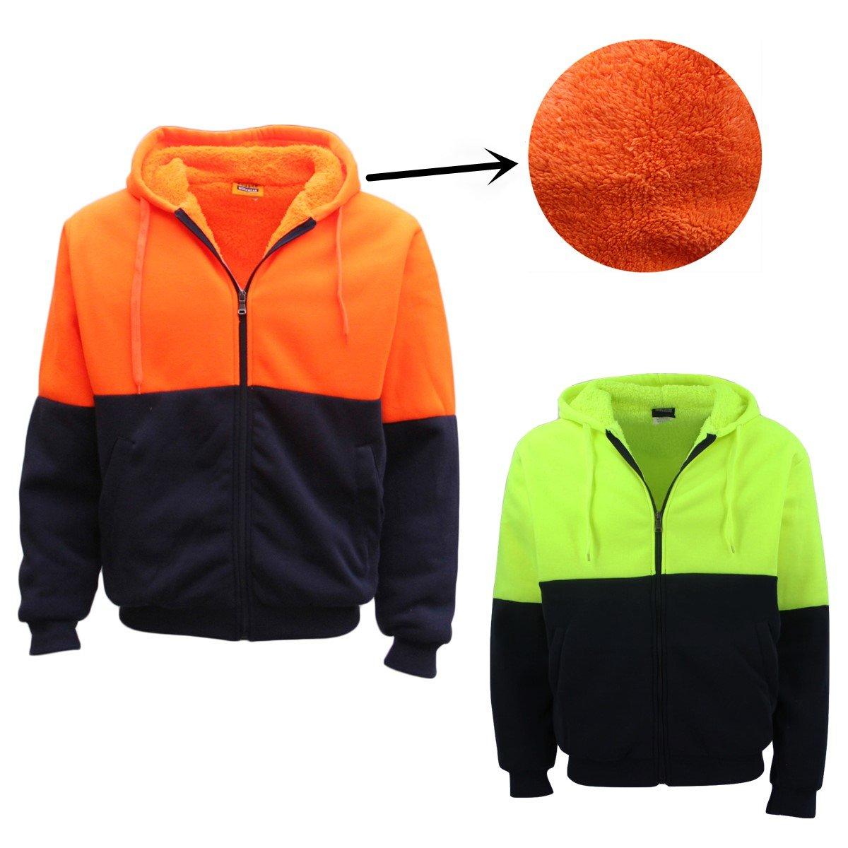 bc8536501 HI VIS Safety Full Zip Thick Sherpa Fleece Hoodie Workwear Jacket Jumper  Winter