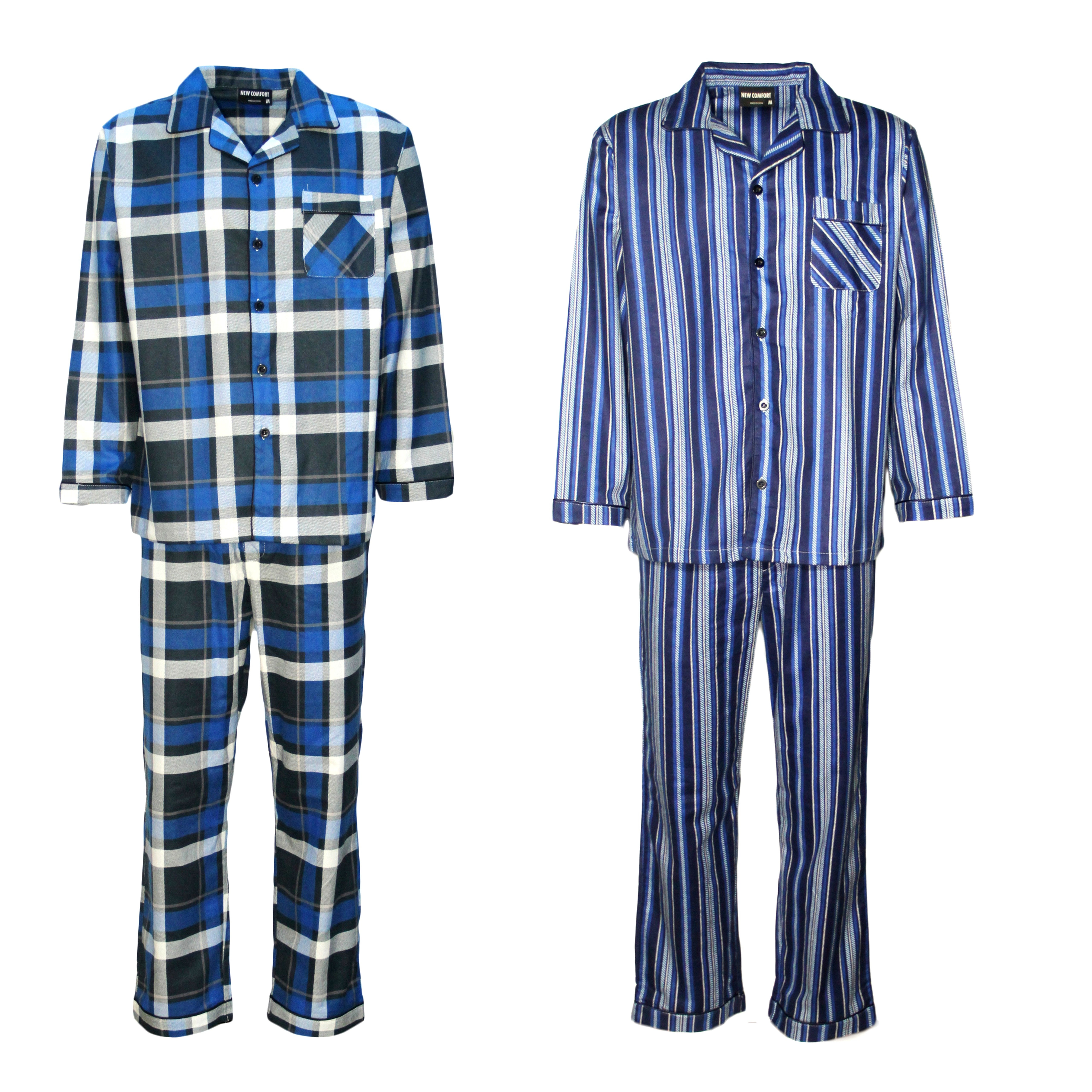 Men's 2PCS SET 100% Soft Cotton Pajamas Pyjamas PJs