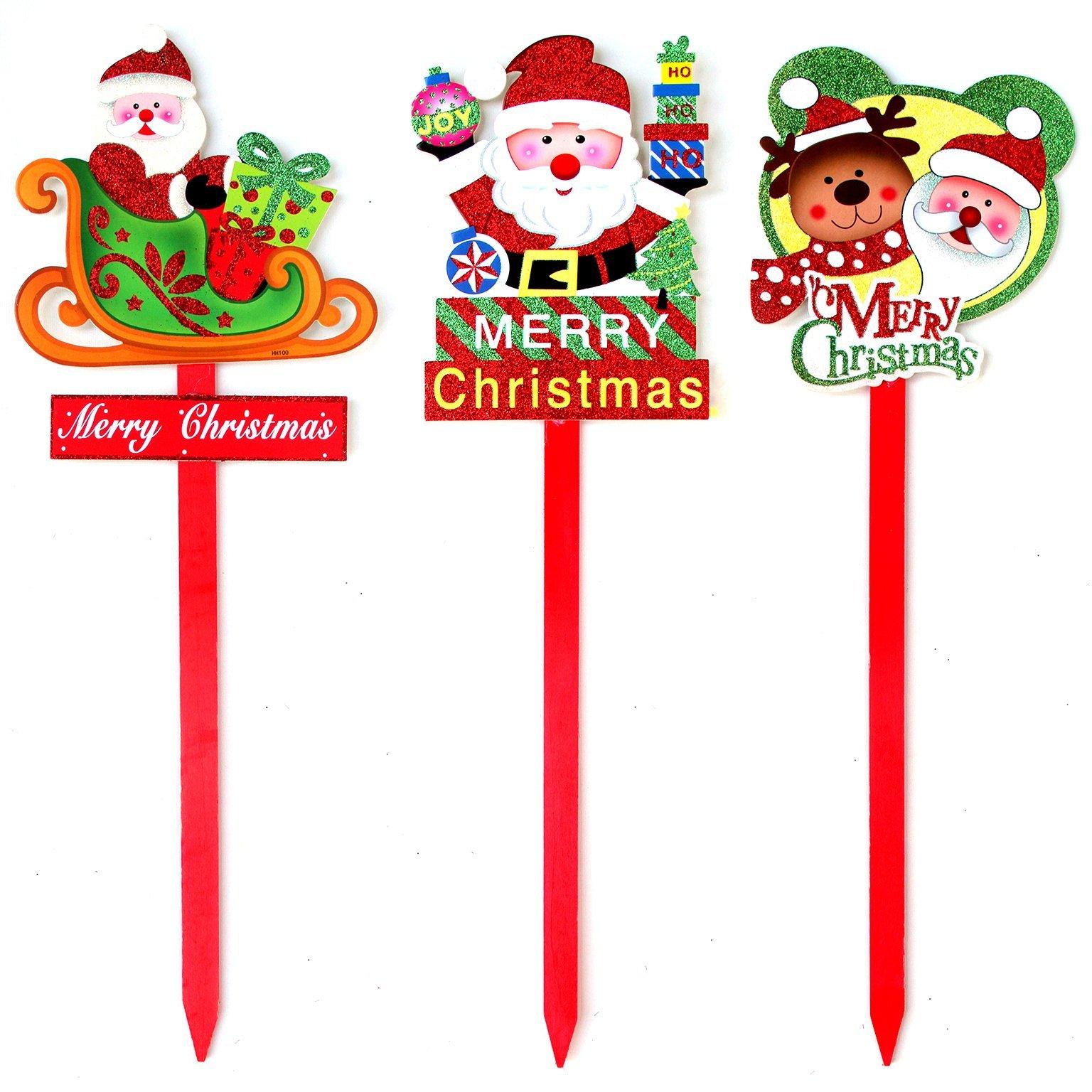 Merry Christmas Glitter Santa Signs Spikes Plaque Xmas Tree ...
