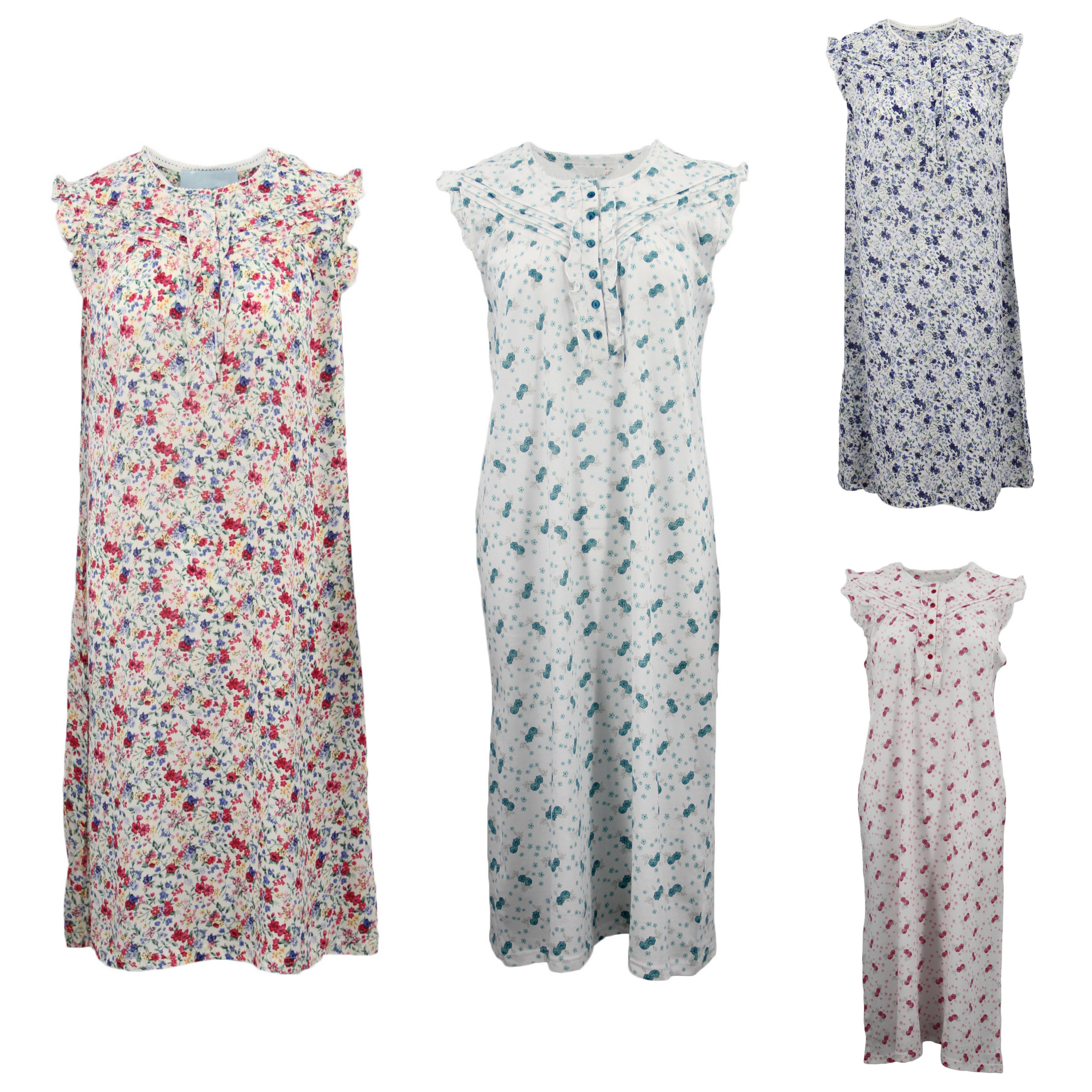 Women s 100% Cotton Sleeveless Sleepwear Pajamas Lace Night Gown Nightie  Pyjamas eabe9c66a
