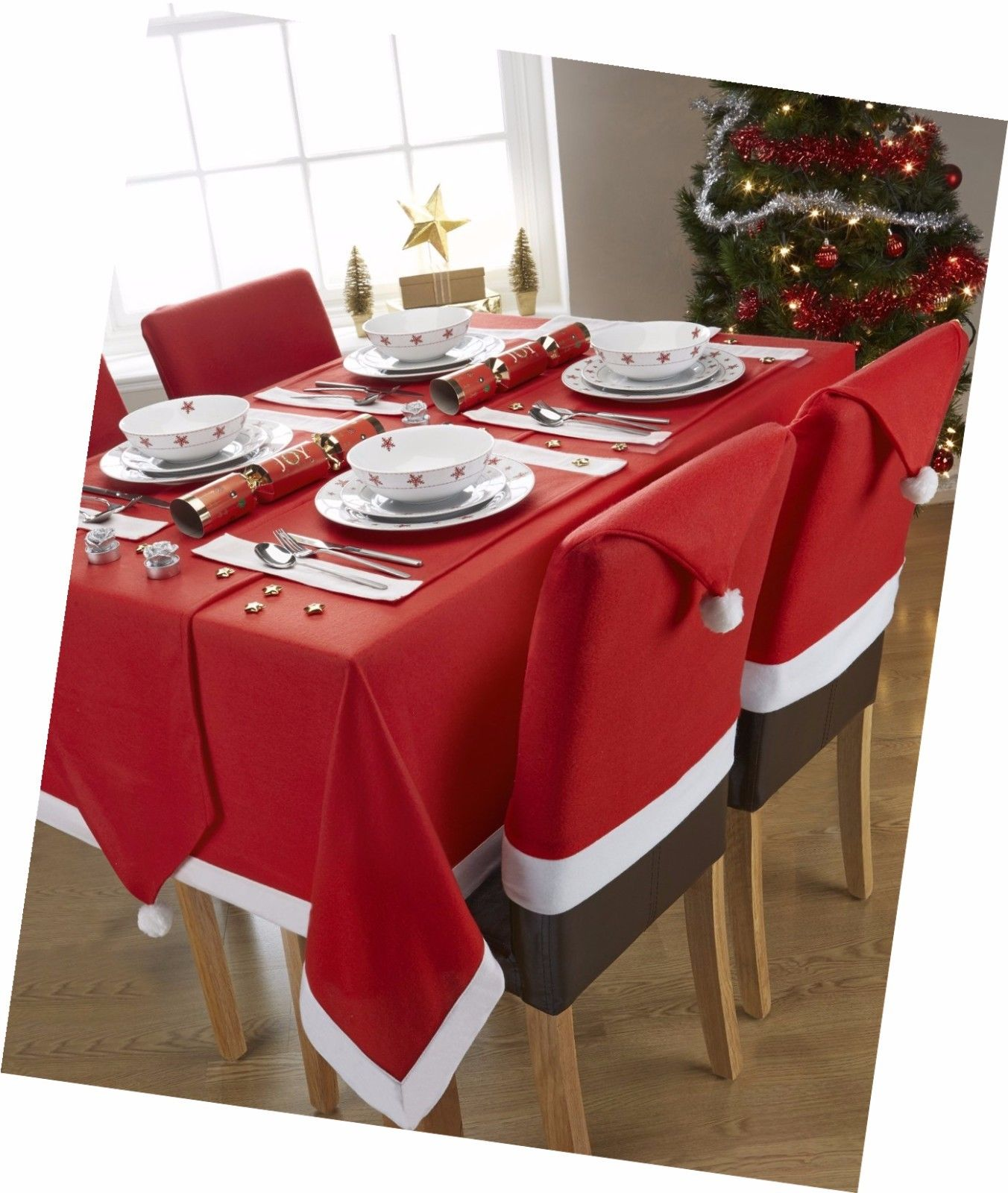 6 Christmas Chair Covers Dinner Table Santa Hat Home