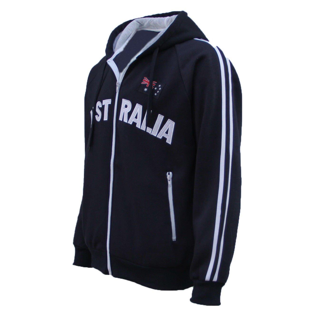 newest 71d36 1f248 New Adults Australia Day Zip Up Hoodie Jacket w Flag Souvenir Jumper Sports  Coat
